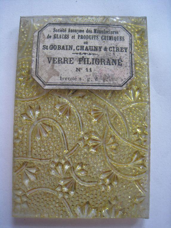 Echantillons de verre fabriqué par Saint-Gobain, Chauny, Cirey