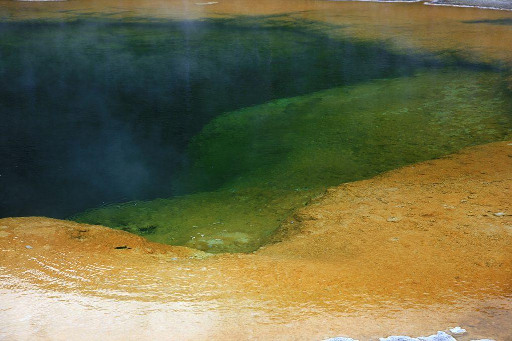 Le parc national du Yellowstone abrite la majorité des geysers actifs de la planète. Trois conditions sont nécessaires à leur bon fonctionnement : chaleur, fournie par le point chaud sous-jacent&#x3B; eau, provenant des précipitations&#x3B; et un système