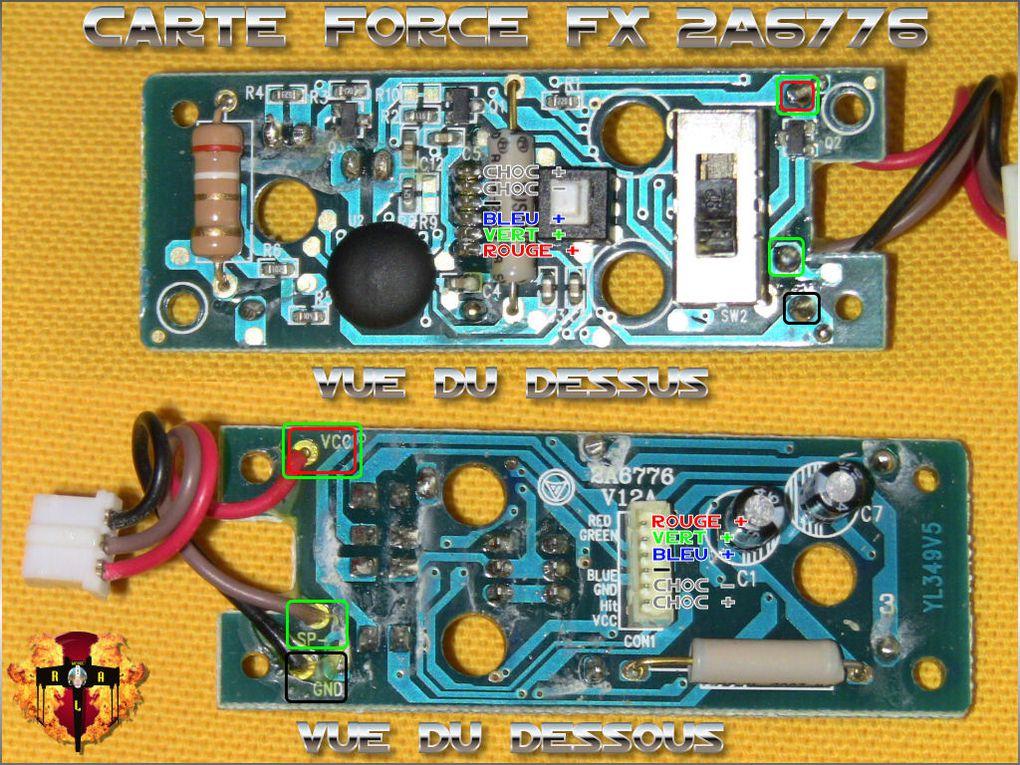 Voici les cartes Force FX actuelles avec, entouré de différentes couleurs, les points clés pour les différents câblages.