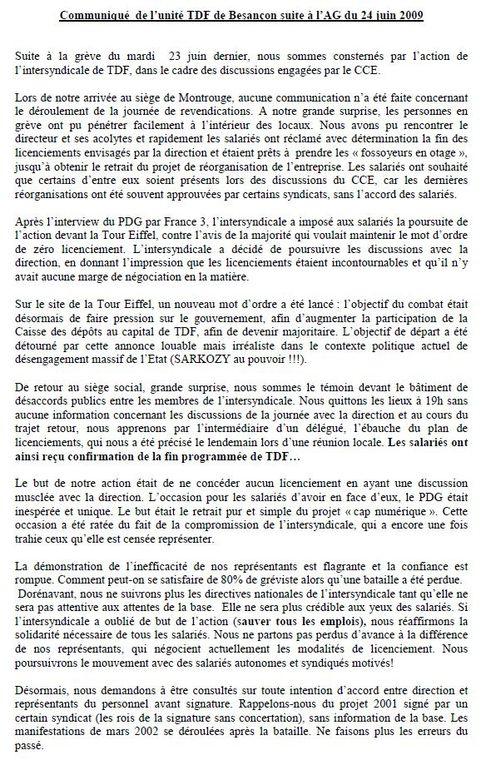 Tracts et articles sur les actions des salariés TDf de Besançon