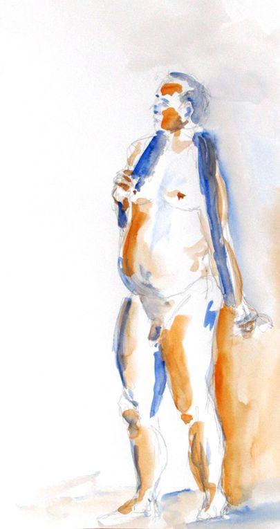 Modele vivant - Live drawing ,4 heures avec Patick  encre, craie , aquarelle