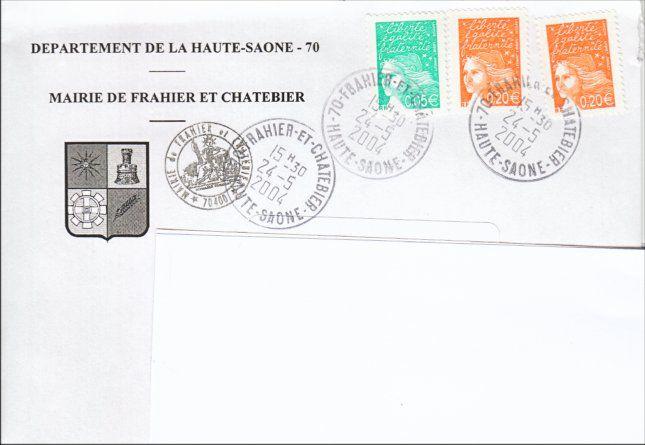HAUTE-SAONE Les Enveloppes illustrées utiliséés par les Mairies sont pour la plupart affranchies d'un timbre-poste, d'une Empreinte de machine à affranchir... Quelques Mairies utilisent des Prêts à poster.