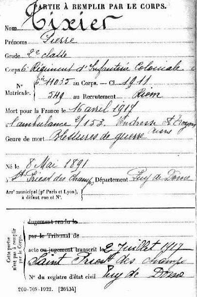 Ce sont les fiches trouvées sur Mémoires de Hommes des Morts pour la France portés sur le Monument de Saint-Priest-des-Champs.
