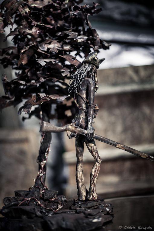 Sculpture acier/cuivre/inox oxycoupée et forgéeHauteur 1500 mmLongueur 800 mmlargeur 650mm