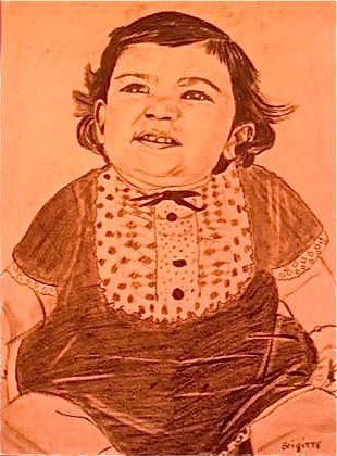 Mon premier portrait au crayon, il faut être indulgent, j' ai utilisé la méthode du quadrillage,il en porte encore les traces, je ferais mieux la prochaine fois !!!!!