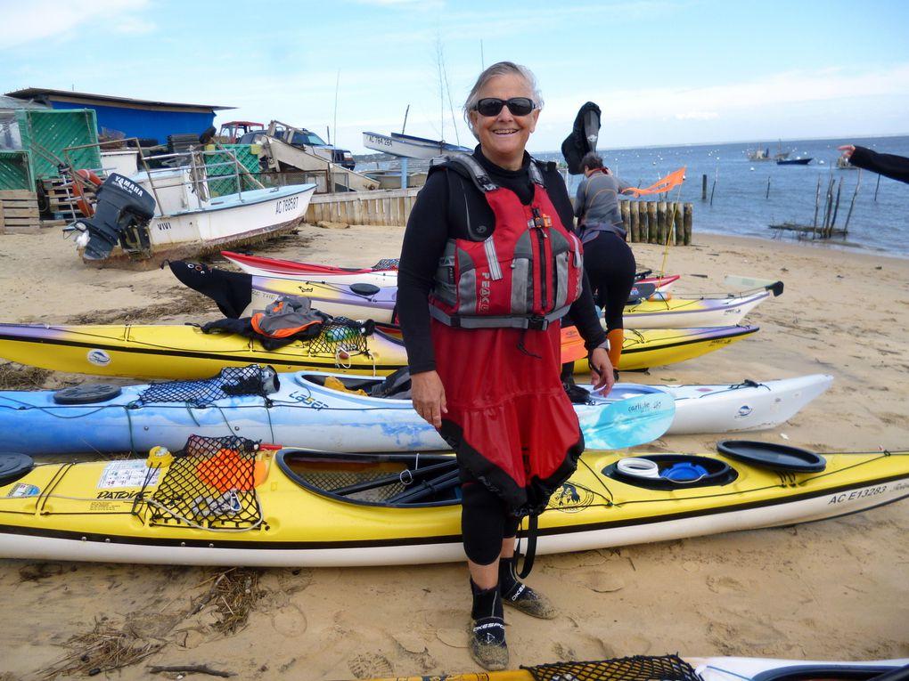 Sortie avec pique-nique au vllage de l'Herbe. retour à la plage du Pyla à marée haute, coeef 93 plus sur-cote et une shore break qui a envoyé 7 des 9 kayakistes goûter l'eau salée.