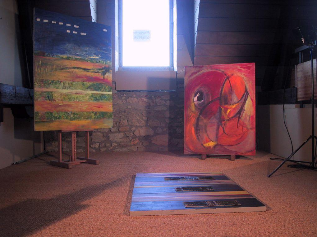 Exposition des peintures de Brigitte Garcia et des sculptures de Paule Geffriaud et de Philippe Legrand à la Banque Populaire Atlantique du Croisic