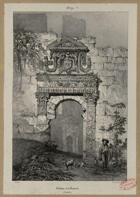 Gravures et aquarelles du XIXe Siècle montrant le castellas en ruine.