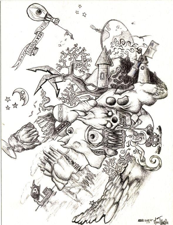 Une série de petits dessins au stylo à bille noir, fruit du travail à deux mains entre Marc Thorpe et moi.