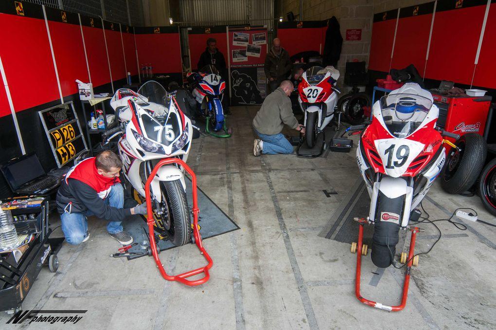1ère epreuve Fsbk de la saison. Jimmy Maccio 14, Eddy dupuy #19, José Dupuy #20, et Julien Brun #75. 4 pilotes ¨Plv racing tous 4 en Catégorie Superbike.