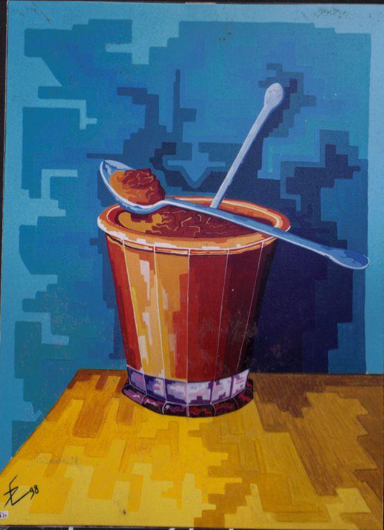 travail période 1997-1998Des images sont agrandies volontairement pour en faire ressortir les pixels et ainsi décomposer la couleur.Peintures réalisées à l acrylique