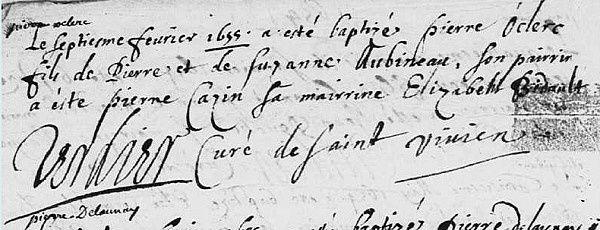 Actes sur le sol français de pionniers partis vers la Nouvelle-France aux XVII et XVII8Ie siècles