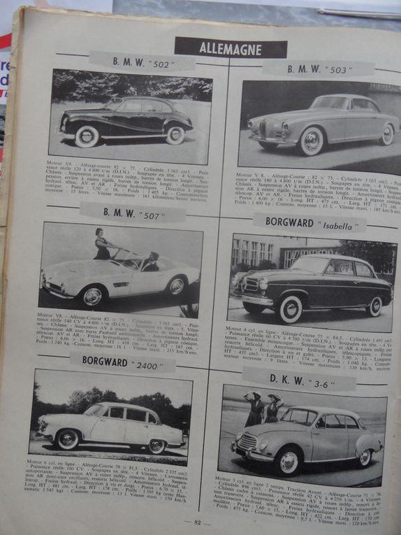 Publicité et articles journaux montrant des voitures anciennes
