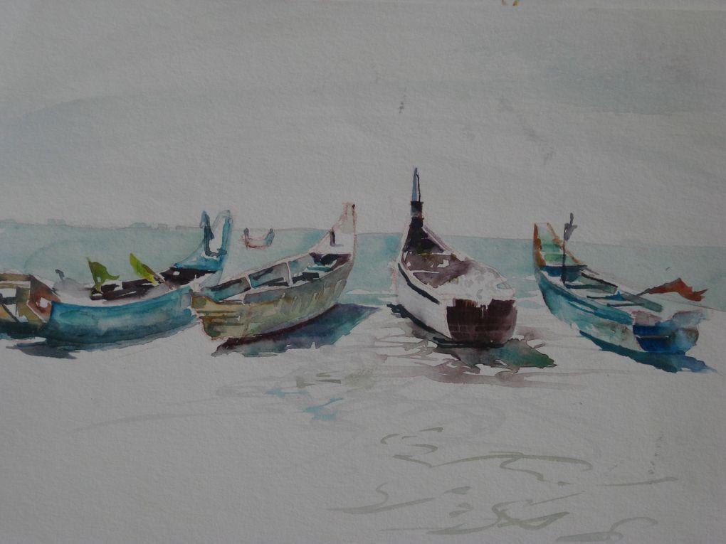les aquarelles réalisées durant le stage de janvier au Kérala