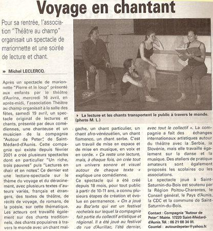 Quelques articles sur la compagnie depuis sa création en 2001.
