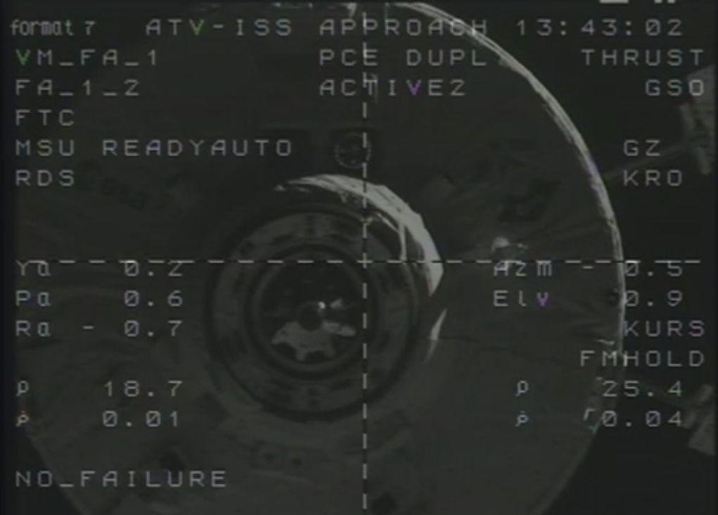 Captures d'écran de la séquence vidéo de la caméra de l'ISS montrant l'approche et l'amarrage de l'ATV-4 Albert Einstein
