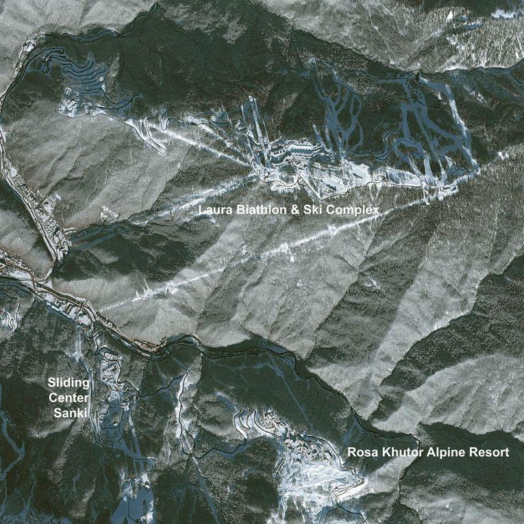 Le site des jeux olympiques d'hiver 2014 à Sotchi : des images des satellites Pléiades et Landsat et l'évolution des travaux vue par Google Earth