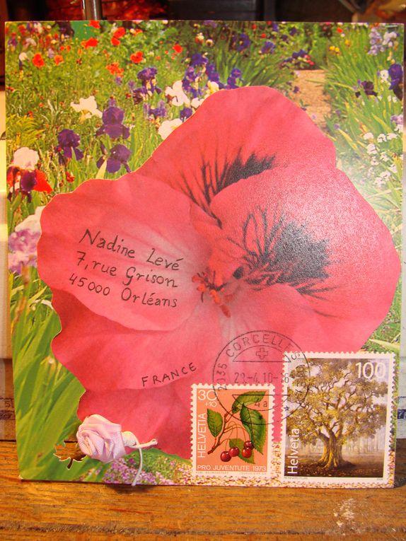 Mailarts reçus sur le thème des fleurs et des paysages