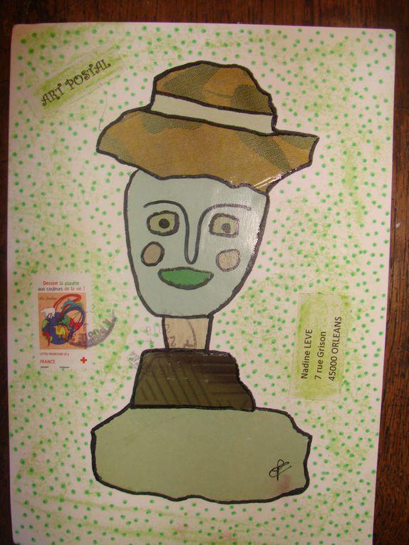 Echange de mail-art avec PascalouUn mail-art par mois sur le thèmme du portrait