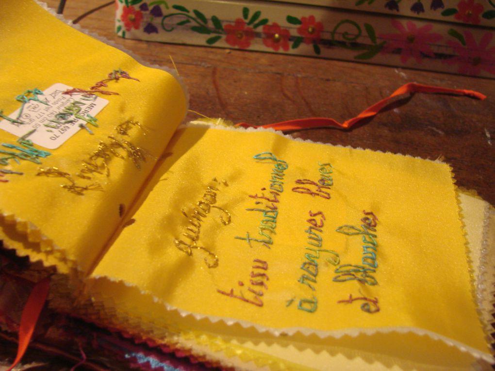 Petits carnets pliés en acordéonPatchworks de chutes de tissusCouverture en linTaille 17cm X 12cm