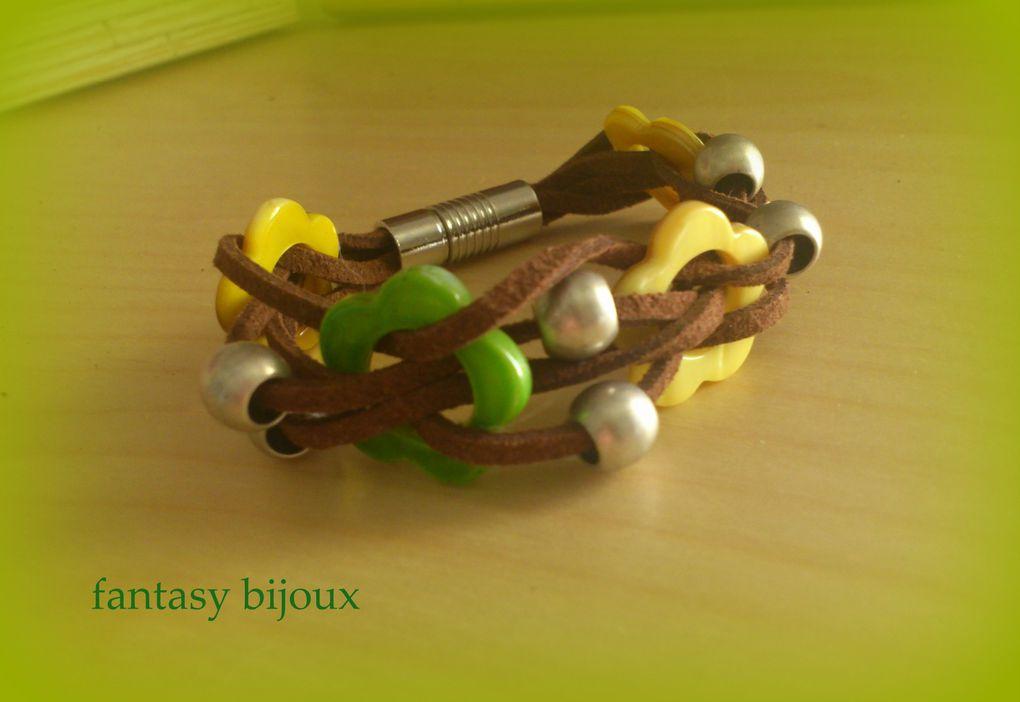 vous trouverez dans cet album toute une série de bracelets trés colorés , verts, bleus , roses, rouge etc ...