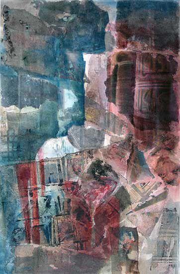 Le temps, qui émiette et fragmente les formes &#x3B; la poussière sablonneuse dans la lumière. De la couleur liquide, un pinceau qui évolue silencieusement...