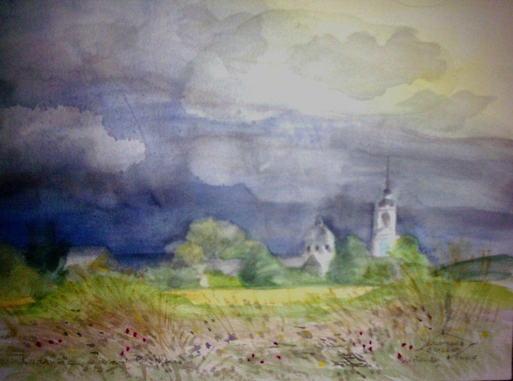 Les aquarelles, les pastels, les dessins que je fais dans mon village de Krasnoïé,dans ses environs et à Pereslavl Zalesski