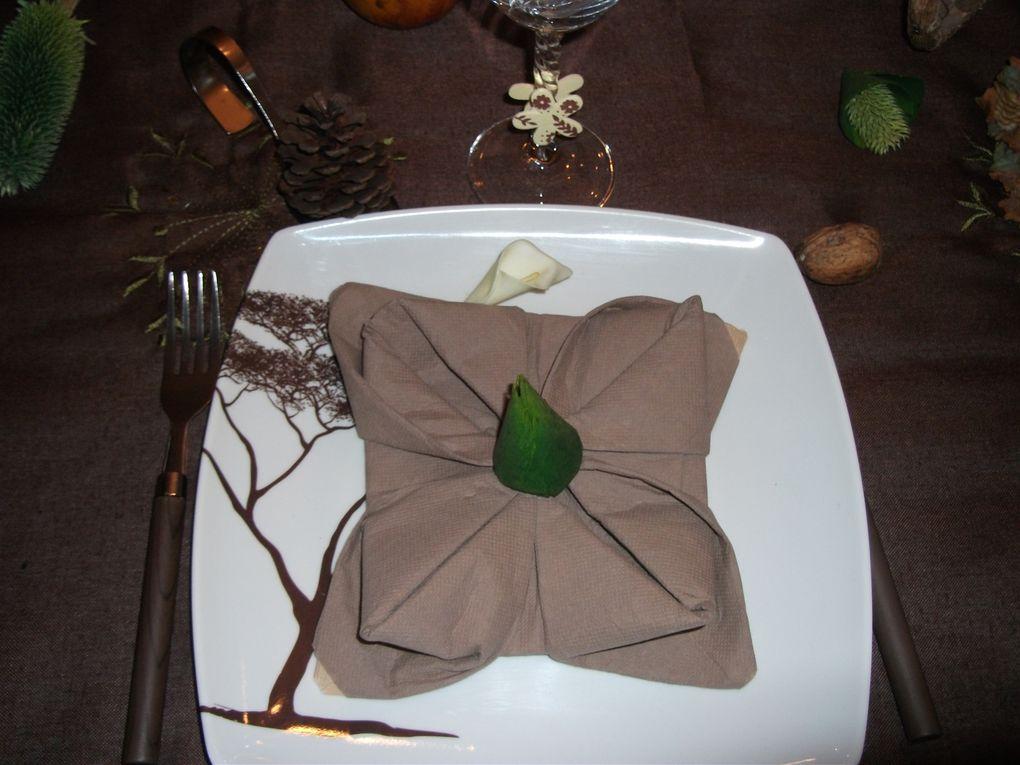 table aux couleurs de l'automne ,table dressée à l'occasion d'un défi d'une copinaute criquette ,un vrai plaisir!