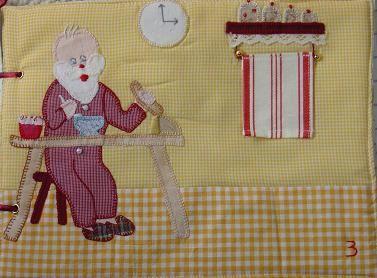 un panneau calendrier, un livre:la journée du pere noel&#x3B;en 3 la botte du pere noel