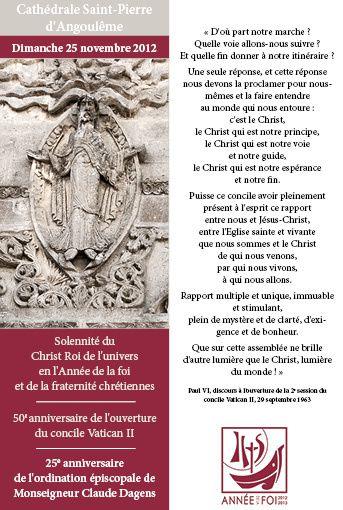 Célébration du 50e anniversaire du concile Vatican II et du 25e anniversaire de l'ordination épiscopale de Mgr Dagens, à la cathédrale d'Angoulême, le 25 novembre 2012