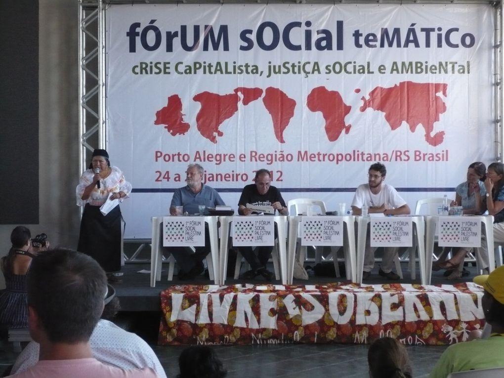 """Forum social thématique """"Crise capitaliste &#x3B; Justice sociale et environnementale"""" à Porto Alegre (24 au 29 janvier 2012).Photos de la manif d'ouverture, d'ateliers et de l'Assemblée des peuples et mouvements sociaux. Photos RN."""