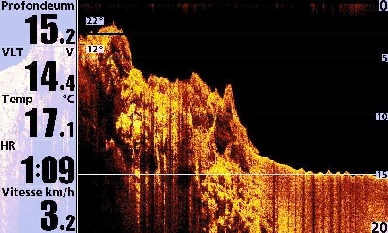 Dans cet album des captures d'écran réelles (pas de montage, météo du jour), avec leur description sur des fond reconnus en plongée. Sondeur 998si Hummindird sur un semi-rigide.Dautre image faites à partir d'enregistrements et traitement avec