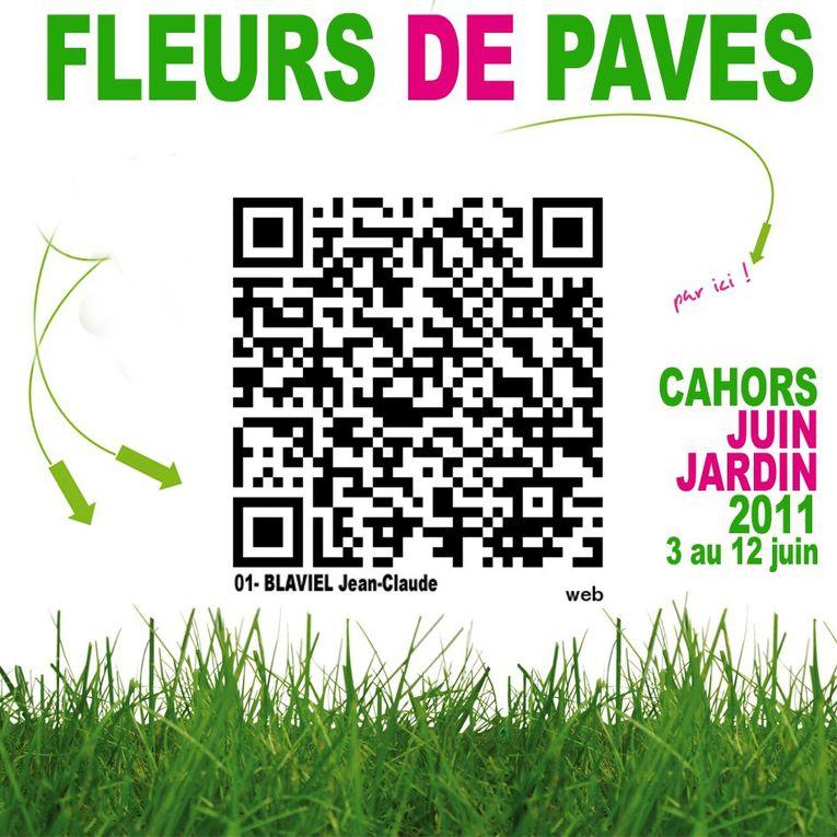 Flashez avec vos téléphones les codes/fleurs que vous trouverez sur le pavé de Cahors et découvrez les photos de 9 photographes_Du 3 au 12 juin 11