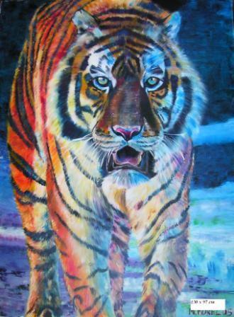 Peinture acrylique sur toiles. Peintures d'animaux : aigrette, buffles, elephant, flamant rose, girafe, tigre...
