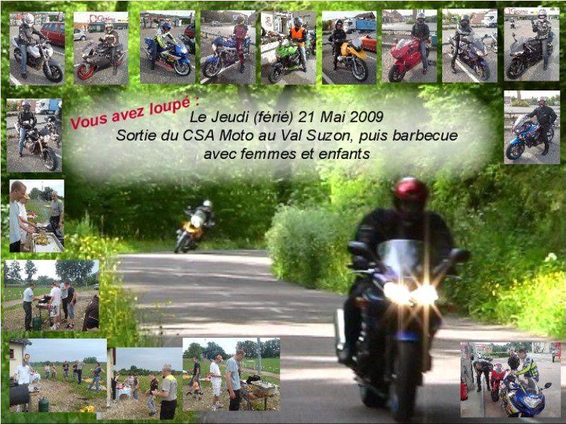 Matinée de balade vers Dijon et le Val Suzon, puis retour vers Pontailler où nos femmes nous attendaient pour participer à un Barbecue sympathique...Participation de 12 motos, plus les femmes et enfants le midi.