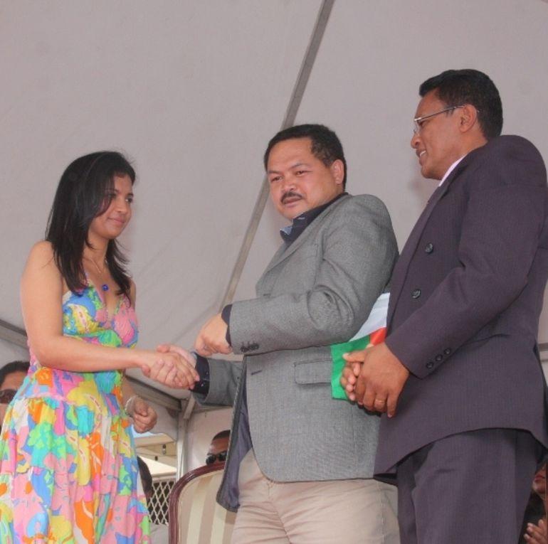 15 octobre 2011. Mialy Rajoelina, Première Dame de l'Etat, également Présidente-Fondatrice de l'association FITIA, lors de la célébration de Journée Internationale de la Femme Rurale.