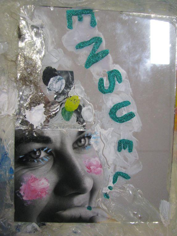 Collage papier + acrylique + techniques mixtes sur bâche plastique transparente. (50/350 CM).