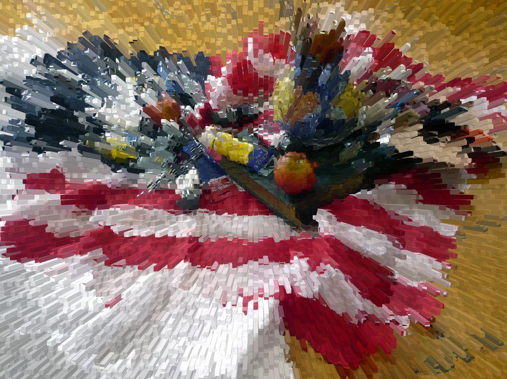 """EXPOSITION """"Les artistes provencaux regardent l'Amérique"""" Galerie Hang'Art, le 6 mai 2007.(série photos couleur + vernis gel sur carton plume, 13/19 CM)"""