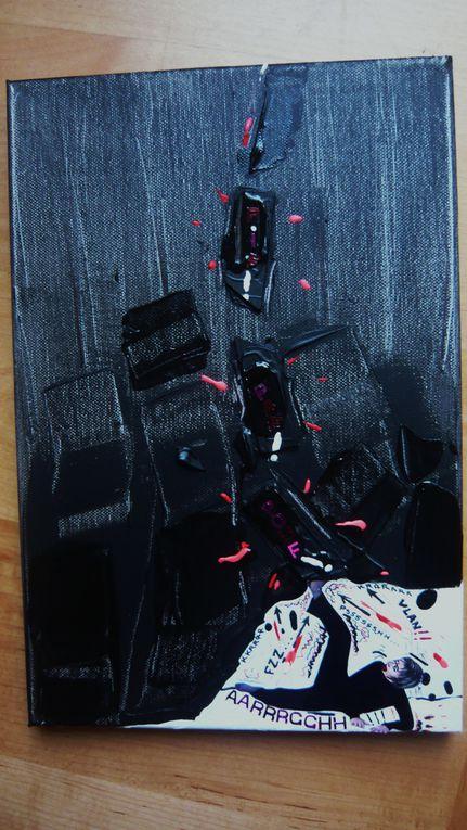 Une série à partir de l'oeuvre de Soulage :peintre fort fort connu... dont la couleur de principe est le NOIR... Emprunt ou citation??? Hommage ou blasphémation??? GNNNEUEUEU ARFFFF GNA!!!