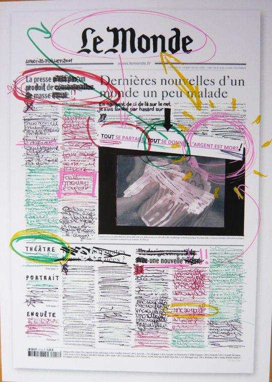 """Première partie de l'installation : 15 pages de la UNE"""" du journal le """"MONDE"""". (techniques mixtes sur photocopie en noir et blanc)"""