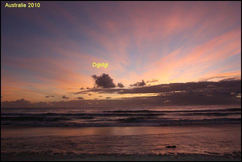 Les couchers ou levers de soleils  que j'ai pu prendre en Australie .