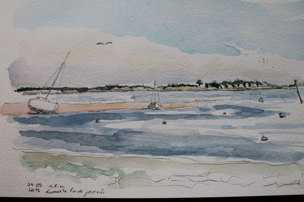 Croquis, aquarelle et encre de chine réalisés dans l'Ile de Ré, à Paris ou ailleurs