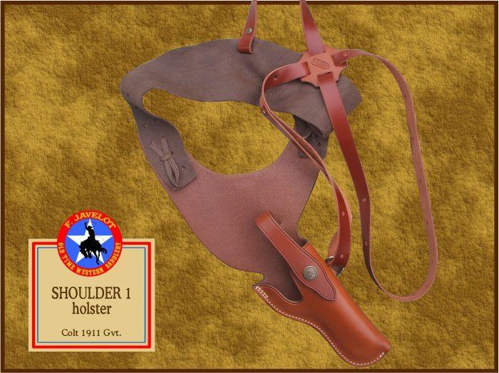 Étuis d'épaule, simples droitier ou gaucher ou doubles, inclinés ou verticaux, type étroit en une pièce (shoulder 1), ou avec cuir de fond (shoulder 2).