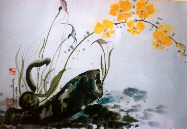 Encres de chine et aquarelle sur papier de riz, marouflées sur support cartonné.
