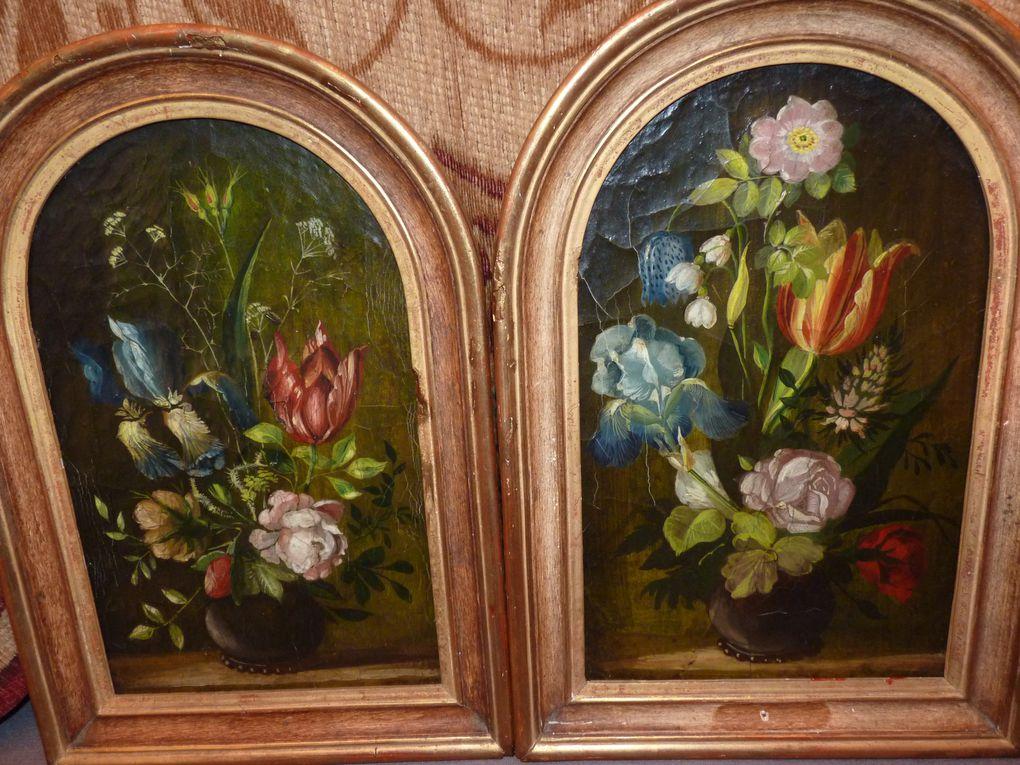 le langage des fleurs sur tous supports ... tole peinte, panneau, porcelaine, cristal, marqueterie de paille ...