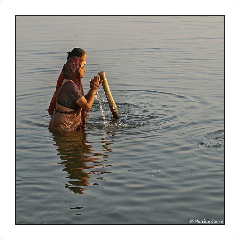 Bénarès, ville sacrée sur le Gange fleuve sacré où les pèlerins hindous de toute l'Inde viennent se purifier ou y mourir / Varanasi, sacred city on the sacred river, the Ganges, where the Hindu indian pilgrims  come to cleanse or to die there.