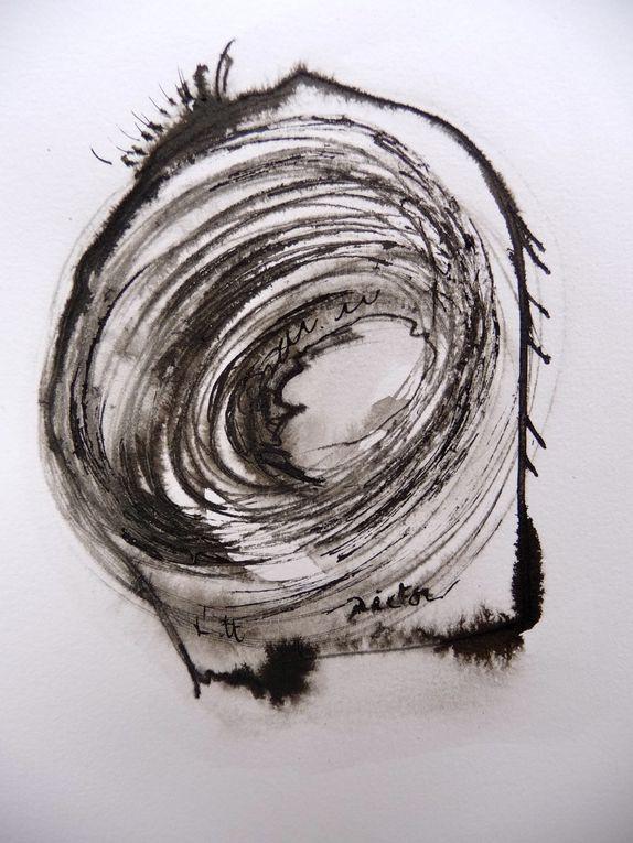 Abstractions - Encre de Chine, Pastel à l'huile, Peinture vitrail -
