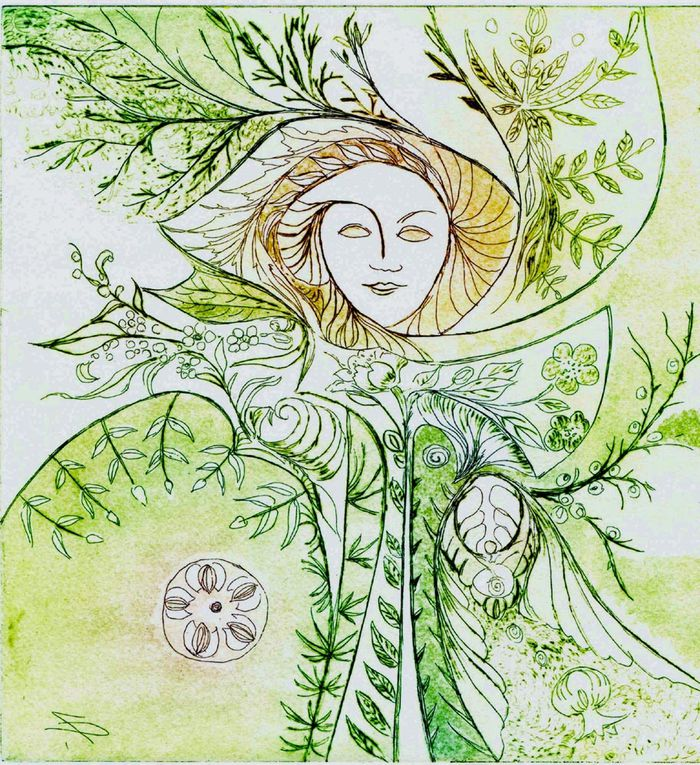 Mi-figuratives, mi-oniriques, mes gravures me permettent de partager avec beaucoup de poésie, mes émotions et mes rêves, grâce à cet univers plein de vitalité et de richesses inépuisables qu'est la Nature et plus particulièrement la Flore