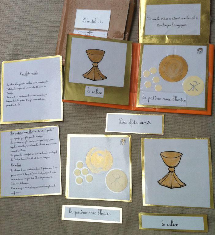 Un jeu de messe miniature , servant pour un enfant de 6-8 ans&#x3B; le matériel de culture (nomenclature de l'autel et des vêtements sacerdotaux) en réfection après 10 ans de bons et loyaux services!