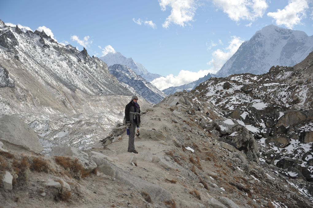 A very long and difficult day. First the walk to Gorek Shep, quick lunch and rest and then on to base camp. Two hours or more along the Khumbu Glacier with breathtaking views of the giants.